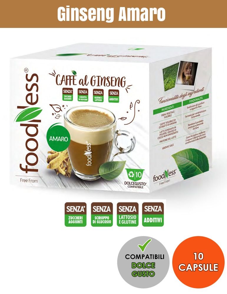 FOODNESS 10 Capsule Compatibili DOLCE GUSTO Ginseng Amaro
