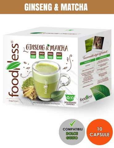 FOODNESS 10 Capsule Compatibili DOLCE GUSTO BEVANDA GINSENG & MATCHA